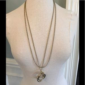 Ann Taylor triple circle necklace in antique gold.